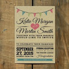 Vintage Bunting Wedding Invitation Suite & Save the Date - On Brown Kraft Recycled Card on Etsy, $2.90 AUD