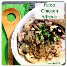 Paleo Chicken Alfredo with Kelp Noodles - Grass Fed Girl (Paleo Meals Chicken) Primal Recipes, Whole Food Recipes, Cooking Recipes, Healthy Recipes, Paleo Meals, Ketogenic Recipes, Low Carb Noodles, Kelp Noodles, Zucchini Noodles