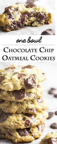 One Bowl Chocolate Cherry Oatmeal Cookies - This recipe for one bowl gooey, chocolatey, cherry studded oatmeal cookies is so easy to make that you'll want to bake them right now. And you should because they are as tasty as they are easy. | justalittlebitofbacon.com