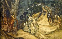"""""""A Midsummer Night's Dream"""" by William Shakespeare """"The Meeting of Oberon and Titania"""" by Arthur Rackham fairytale illustration Art And Illustration, Illustrations, Arthur Rackham, Fairytale Art, Midsummer Nights Dream, Fairy Art, Fantasy Art, Fairy Tales, Art Prints"""