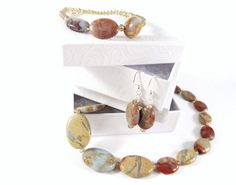 Natural Jasper Necklace Set by MissEsAccessories on Etsy, $45.60