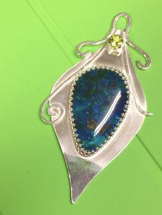 Peacock Feather Pendant Azurite Pendant by AngelWearDesigns2013