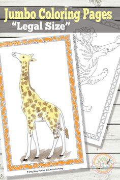 These free jumbo coloring pages for kids feature animals - giraffes & tigers - and can be printed at home on legal-sized paper. Printable Coloring Pages, Colouring Pages, Free Coloring, Coloring Pages For Kids, Coloring Books, Printable Play Money, Printable Activities For Kids, Kids Worksheets, Comic Book Template