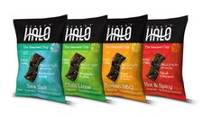 There's a delicious new seaweed snack on the market: seaweed chips called Ocean's Halo! of protein, 85 calories per serving Chip Packaging, Food Packaging, Packaging Design, Yummy Snacks, Healthy Snacks, Seaweed Chips, Veggie Cups, Chips Brands, Organic Snacks