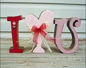 Shabby Chic I heart you wood letter Valentine's Day decoration