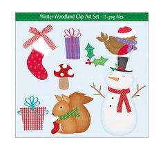 This festive high quality Woodland Christmas clip art set is great for all your craft projects. You can use the clip art files to design your own greeting cards, invitations, gift tags, decorations and lots more.  This Christmas set is supplied as 4 compressed zip files and includes:- 15 .png files with transparent backgrounds 3 digital papers (12 x 12) jpeg files 2 backgrounds (12 x 12) jpeg files  All files are high resolution (300dpi) and no watermark will appear on purchased files…