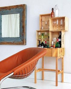 Small crates secured together create this wine bar.  No instructions, just a clever idea.