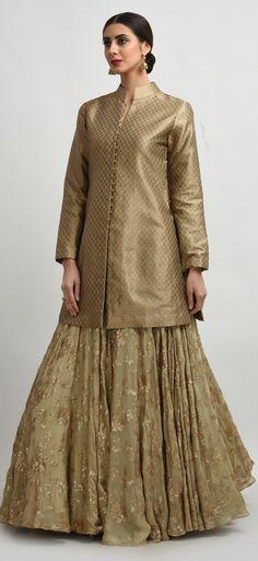 Beige Banarasi Brocade Silk Jacket With Sequin Embroidered Skirt & Dupatta