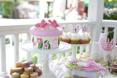 Pink and green treats at a fairy birthday party! See more party planning ideas at CatchMyParty.com!