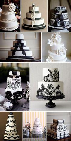 Modelos de tartas y pasteles de boda que se combinan en blanco y negro...¡toda una dulzura!
