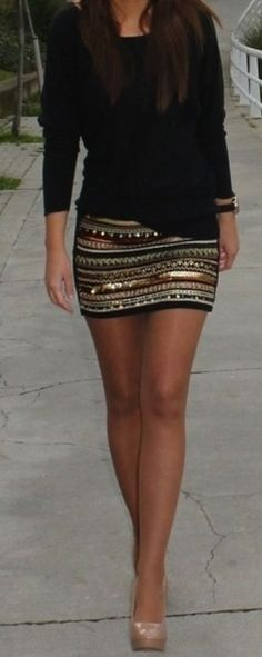Zara aztec sequin beaded embroidered mini skirt