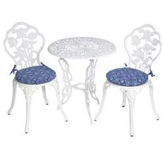 Bistro Outdoor Blue Tile Round Chair Cushions Set Of