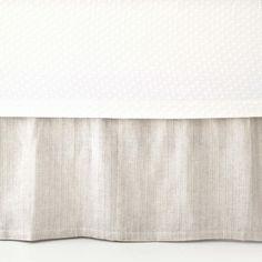 PCH Pinstripe Linen Dove Gray Bed Skirt @Zinc_Door $128