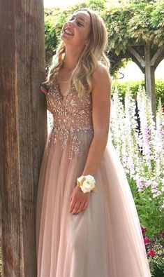 pretty blush long prom dresses, sexy v neck prom gowns, luxury beading party gowns Formal Evening Dresses, Prom Dresses, Dress Prom, Dress Long, Blush Prom Dress, Dress Formal, Formal Gowns, Party Gowns, Dress For You