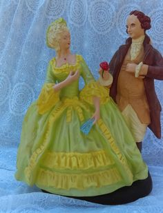 Victorian statue  Beauty and the Beast by GenesisVintageShop