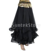 Dança do ventre saia de Chiffon círculo vestido - preto(China (Mainland))
