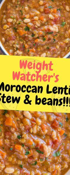 Weight Watcher& Moroccan Lentil Stew & beans - One of food - Lentil Recipes, Bean Recipes, Ww Recipes, Soup Recipes, Vegetarian Recipes, Cooking Recipes, Dinner Recipes, Healthy Recipes, Skinny Recipes