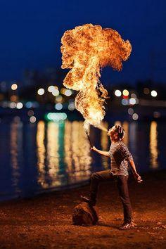 Breathing fire...