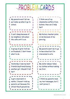 Giving advice - problem cards worksheet - Free ESL printable worksheets made by teachers English Speaking Game, English Language Learning, English Vocabulary, Teaching English, English Grammar, French Language, German Language, Japanese Language, Teaching Spanish