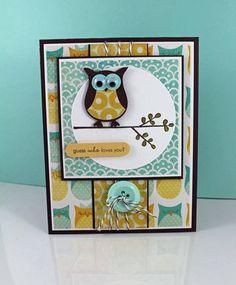 Like the idea of stamping a branch under the owl Owl Always Love You in pink/reds