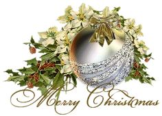 Sparkling Silver Christmas Ornament with White Flowers