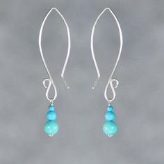 Sterling silver turquoise oval hoop dangling long earring handmade US freeshipping Anni Designs