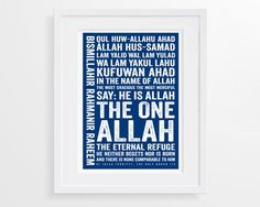 Surah Al Iklas Modern Islamic Typography Print, Customised Islamic Wall Art And There Were None, Bold Colors, Colours, Islamic Wall Art, Frame Sizes, Typography Prints, Wall Stickers, Giclee Print, English