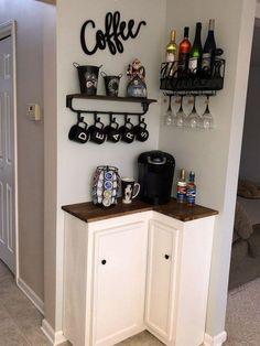 Coffee Bar Home, Home Coffee Stations, Coffee Bar Ideas, Coffee Nook, Coffee Kitchen Decor, Wine And Coffee Bar, Coffee Bar Design, Coffee House Decor, Coffee Bar Station