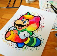 Watercolors: Mario