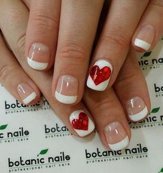 Valentine by Botanic Nails French Nails, Love Nails, How To Do Nails, Pretty Nails, Nails Factory, Botanic Nails, Valentine's Day Nail Designs, Nails Design, Heart Nail Designs
