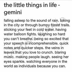 Th little things in life - Gemini Gemini Sign, Gemini Quotes, Zodiac Signs Gemini, Taurus And Gemini, My Zodiac Sign, Zodiac Quotes, Zodiac Facts, Gemini Lover, Gemini People