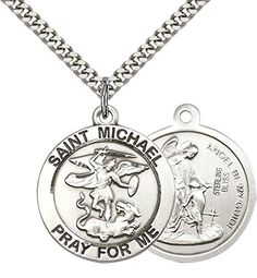 """Sterling Silver St. Michael the Archangel Pendant with 24"""""""" Stainless Steel Heavy Curb Chain. Patron Saint of Police Officers/EMTs"""""""