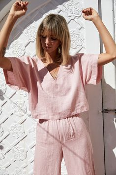NEW NOW: French linen clothing, in Wildflower Pink. A beautiful long pant set that you can Mix and Match. Two new styles, four new colourways. Ready to shop the Elle & Poppy loungewear set. Casual Outfits, Fashion Outfits, Fashion Tips, Fashion Design, Color Fashion, 70s Fashion, Fashion History, Modest Fashion, Korean Fashion