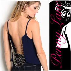 """HOT chained backless crop tank! M Super sexy crop tank! Backless with gold chain detail! Perfect for summer 2016 or for hitting the hottest clubs in the winter or the spring! :) Description: L: 20"""" B: 16"""" W: 18"""" ❌PRICE IS FIRM, MADE AND SHIPPED IN THE USA Tops Tank Tops"""