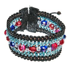 Colorful Black and blue braided leather bracelet with gem stones and f – Hraun- Art and design