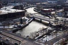 Here's How Hard It Will Be to Unpoison Flint's Water | The Flint River weaves through downtown Flint, Michigan on January 6, 2016.  | Credit: Brittany Greeson/The New York Times/Redux | From WIRED.com