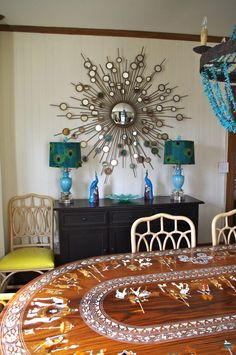 by Holly Phillips @ The English Room Mountain Cottage built in 1887 in Linville, NC Peacock Room Decor, Peacock Bedroom, Peacock Theme, Lampshade Ideas, Lampshades, Pixie, Interior Decorating, Interior Design, Funky Furniture