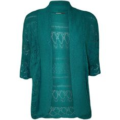 WearAll Plus Size Short Sleeve Crochet Knitted Shrug ($14) ❤ liked on Polyvore featuring tops, cardigans, shrug, teal, teal shrug, blue shrug, plus size shrugs, cardigan shrug and summer shrugs
