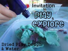 Invitation to play and explore with Dried Playdough and Water. (save those little dried up bits for this fun exploration) Great opened ended idea for Zone.don't throw out the dried up play dough! Sensory Activities, Craft Activities For Kids, Sensory Play, Preschool Ideas, Learning Activities, Nanny Activities, Kids Crafts, Preschool Science, Science For Kids