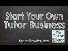 Video: Starting a Tutoring Business Tutoring Flyer, Tutoring Business, Online Tutoring, Minding Your Own Business, Starting Your Own Business, Business Planning, Business Tips, Teaching Skills, Business Funding