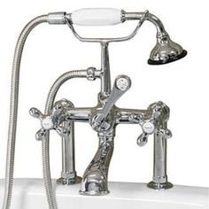 """Cambridge - Clawfoot Tub 6"""" Deck Mount Brass Faucet with Hand Held Shower - Faucet - Gorgeous Tub"""