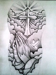Praying hands,dove,cross,....