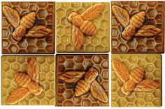 """Ceramic Bee Tiles in Amber and Apricot Gold Glaze (3"""" x 3""""):"""