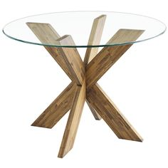 """A small table base with a big personality. This solid hardwood base is compact, yet capable of accommodating a glass top up to 48"""" in diameter (sold separately). Its unique design is bold, sophisticated and—combine two to perfectly support a 78"""" tabletop (sold separately)."""