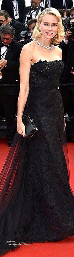 #Naomi #Watts in a strapless black lace Ralph Lauren creation, featuring a black chiffon train ♔ #Cannes Film Festival 2015 Red Carpet ♔ Très Haute Diva ♔