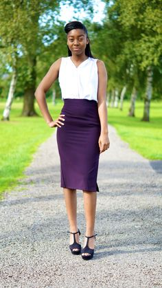 High waisted Pencil Skirt with front vent and by LauraJaneFashion, £25.00