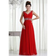 Cheap Wholesale Noble Plunging Neck Rhinestoned and Sequins Design Chiffon Prom Dress (RED,10) At Price 50.18 - DressLily.com
