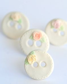 Pastel Roses Polymer Clay buttons set of four by DollyMadison, $15.00