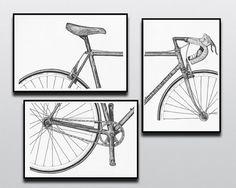 Muestran su pasión por el ciclismo con este intemporal 3 piezas vintage Bianchi bicicleta impresión conjunto. Un conjunto perfecto para los amantes del ciclismo o de arte, estas son copias de piezas originales de pluma y tinta, creados por mí, dueño de la tienda. Todas mis copias