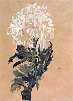 Egon Schiele | White Chrysanthemum  1910: